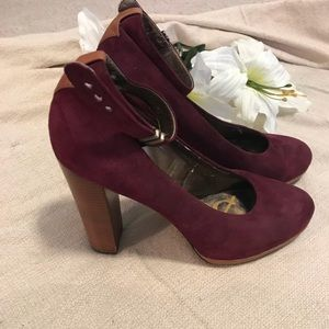 Sam Edelman suede burgundy and brown leather pumps